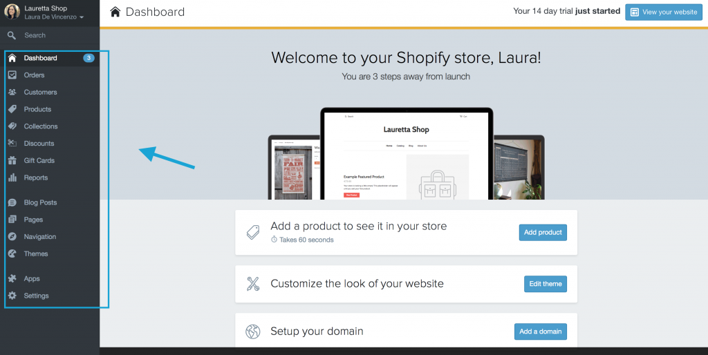 Account su Shopify