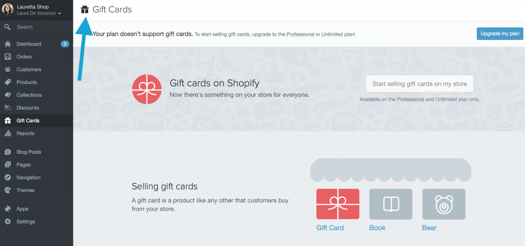 shopify carta regalo