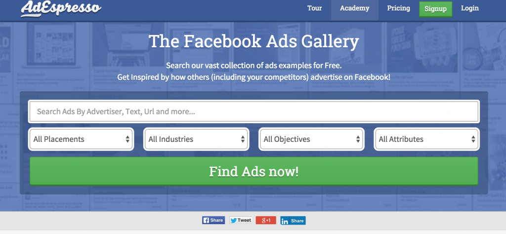 AdExpresso tool The Facebook ads Gallery